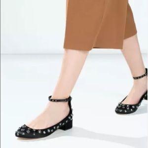 ZARA Black Studded Ankle Strap Mary Janes $69.90 EUC 7 Rare HTF